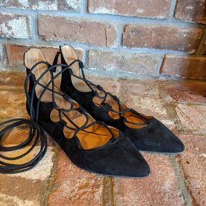 Nine West Black Lace Up Pointed Toe Ballet Falts